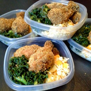 meal prep - breaded baked chicken, steamed kale and rice with peppers and onions