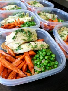 meal prep - roasted carrots, coconut cilantro tilapia and green peas and onions