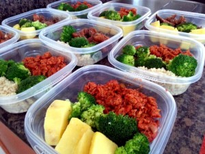 meal prep - yellow yams, ground turkey in tomato sauce and broccoli