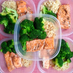 Meal Prep: Garlic Brown Rice, baked jerk salmon and steamed broccoli