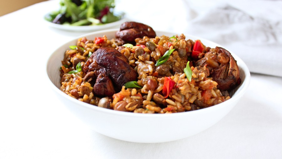 Trinidadian Pelau - Brown Rice, Pigeon Peas and Chicken