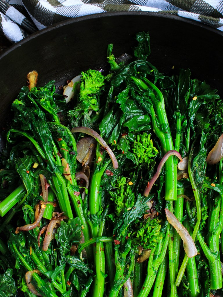 Broccoli Rabe with onions garlic and ginger