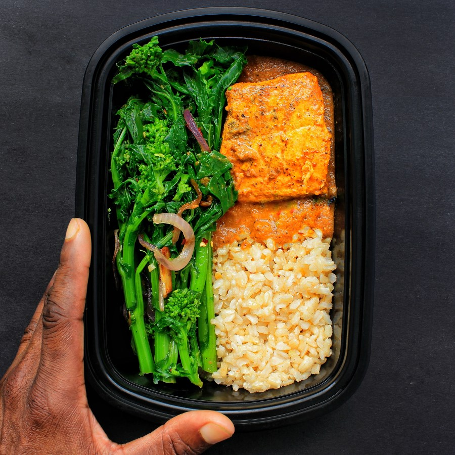 Meal Prep - Salmon Curry, Broccoli Rabe-Raab, Brown Rice