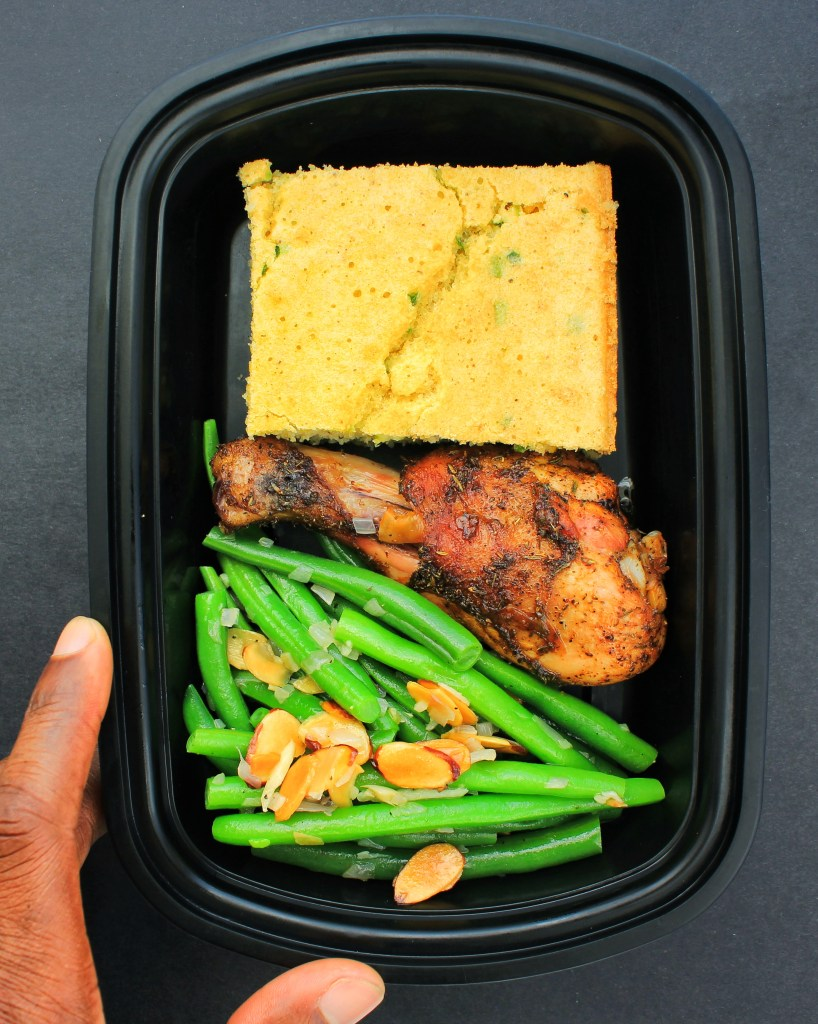 Meal Prep - Jalapeno Coconut Cornbread, Baked Chicken, Green Bean Almondine