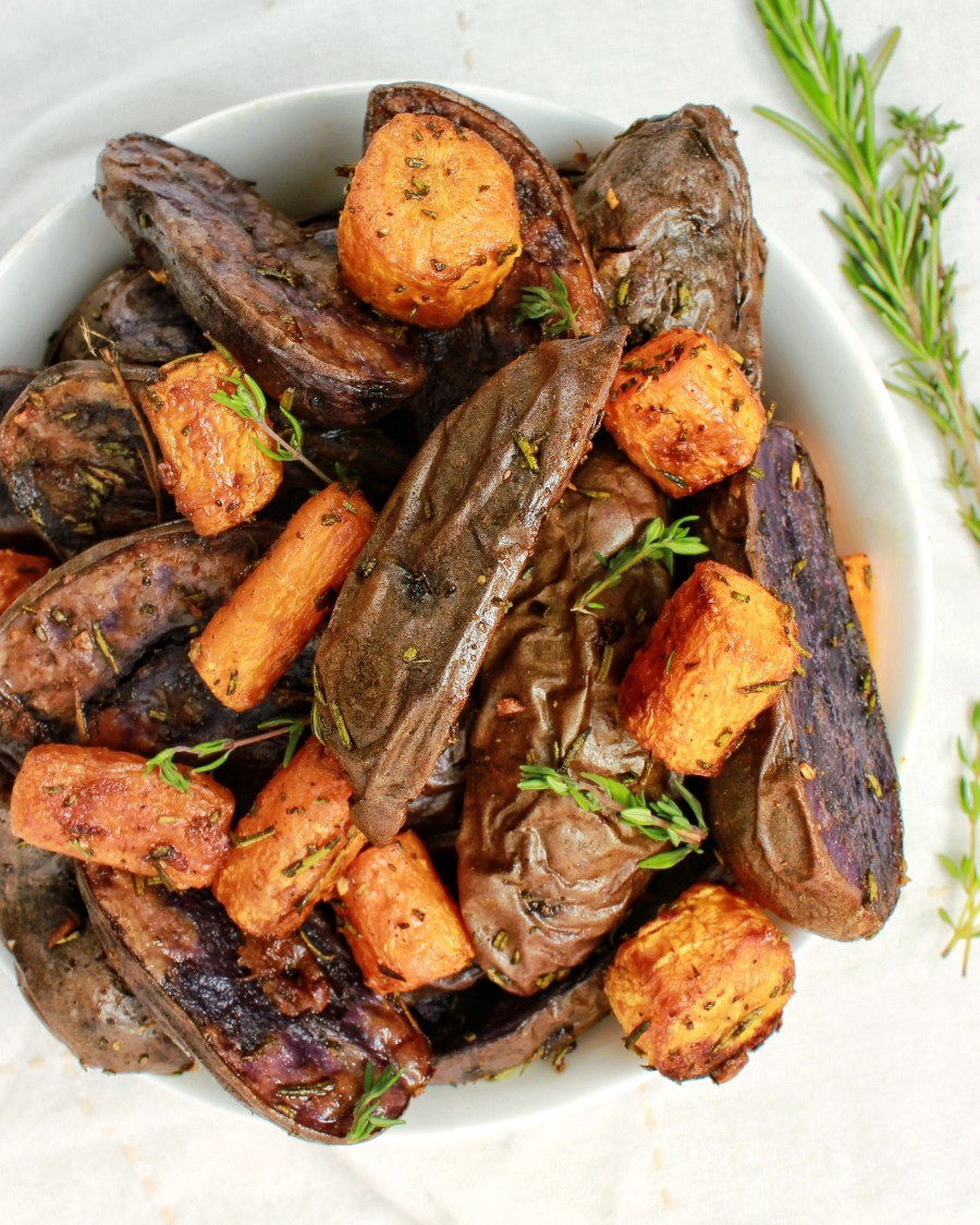 Herb roasted potatoes and carrots