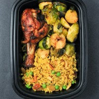 Meal Prep - Yellow Rice, Chicken & Brussels Sprouts (300x375)