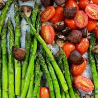 Garlic Roasted Asparagus with Mushrooms & Tomatoes