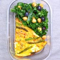 Meal Prep - Roasted Asparagus Salmon Frittata & Kale Chick Pea Salad