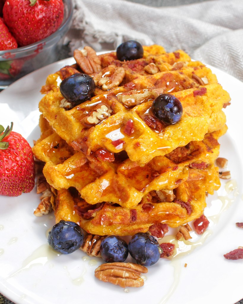 Sweet Potato Bacon Waffles - My Body My Kitchen