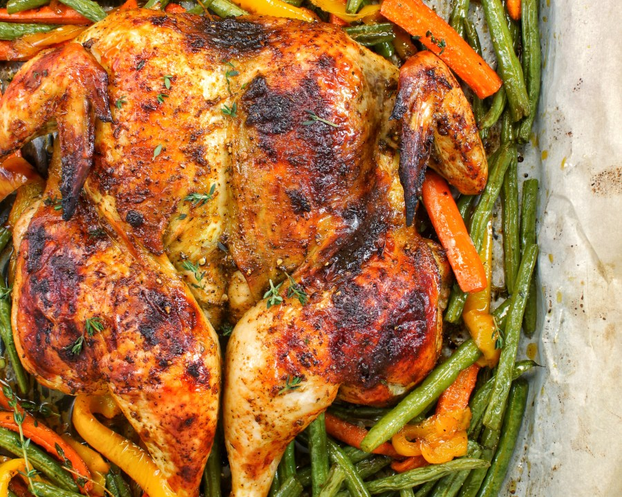 Spatchcock Chicken roasted vegetables carrots string beans bell peppers my body my kitchen