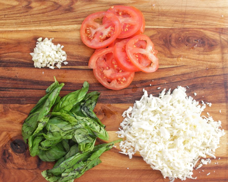 Low Carb Pizza Crust Toppings basil garlic tomatoes mozzarella