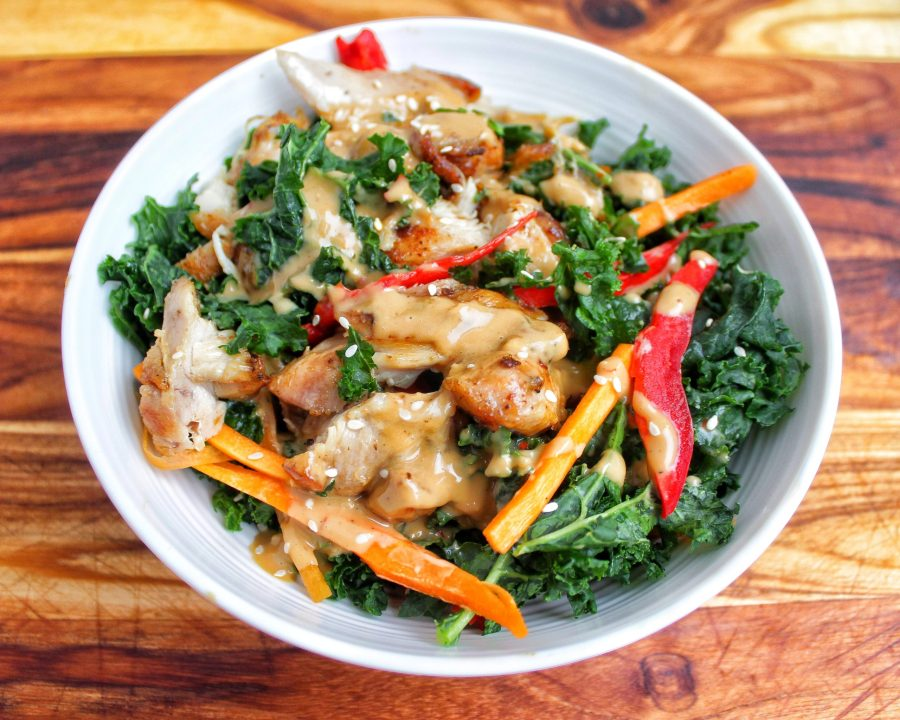 massaged kale chicken salad thai peanut sauce carrots peppers My Body My Kitchen