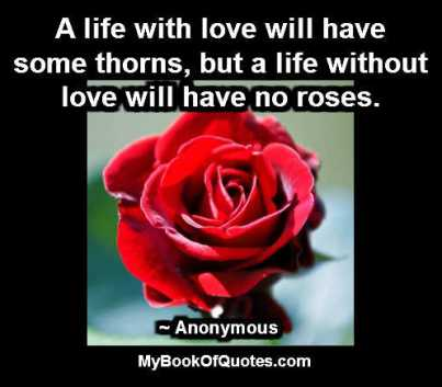 A life with love will have some thorns but a life without love will have no roses