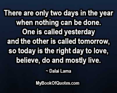There are ony two days in the year when nothing can be done