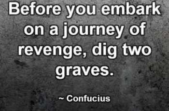 Before you embark on a journey of revenge, dig two graves. ~ Confucius