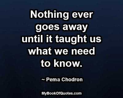 Nothing ever goes away until it thaught us what we need to know. ~ Pema Chodron