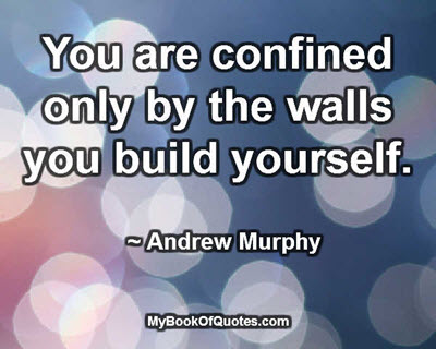 You are confined only by the walls you build yourself. ~ Andrew Murphy