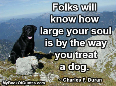 Folks will know how large your soul is by the way you treat a dog. ~ Charles F. Duran