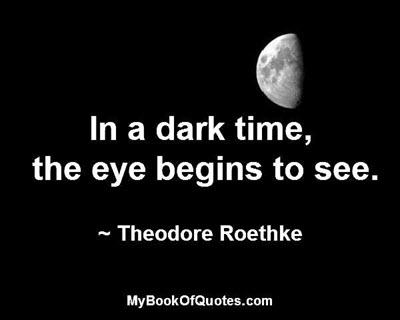 In a dark time, the eye begins to see. ~ Theodore Roethke