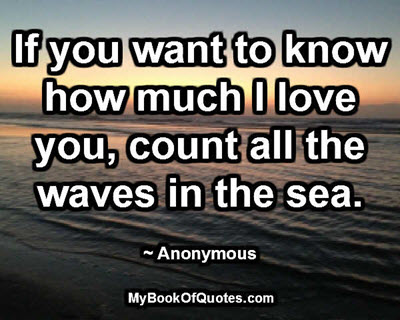 If you want to know how much I love you, count all the waves in the sea. ~ Anonymous