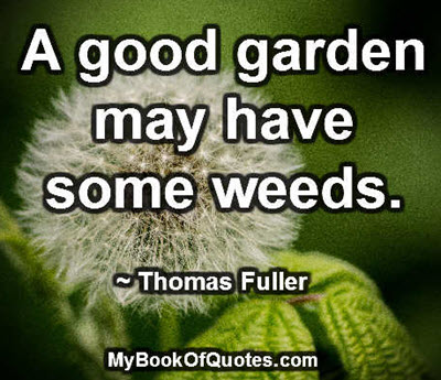 A good garden may have some weeds. ~ Thomas Fuller