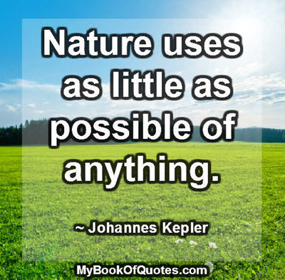Nature uses as little as possible of anything. ~ Johannes Kepler