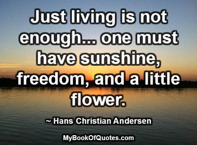 Just living is not enough... one must have sunshine, freedom, and a little flower. ~ Hans Christian Andersen