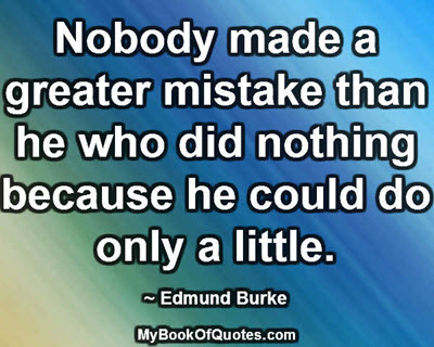 Nobody made a greater mistake than he who did nothing because he could do only a little. ~ Edmund Burke