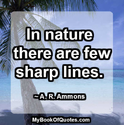 In nature there are few sharp lines. ~ A. R. Ammons