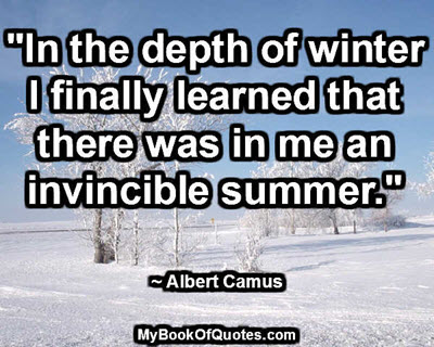 """""""In the depth of winter I finally learned that there was in me an invincible summer."""" ~ Albert Camus"""