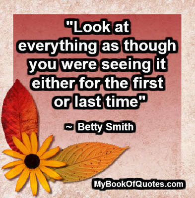 """Look at everything as though you were seeing it either for the first or last time"" ~  Betty Smith"