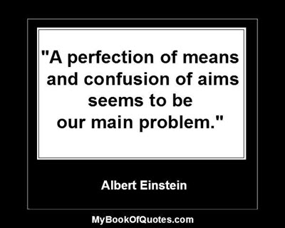 """A perfection of means, and confusion of aims, seems to be our main problem."" ~ Albert Einstein"