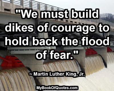 """""""We must build dikes of courage to hold back the flood of fear."""" ~ Martin Luther King, Jr."""
