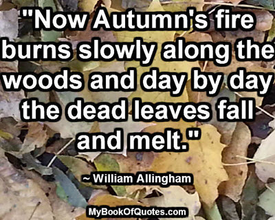 """""""Now Autumn's fire burns slowly along the woods and day by day the dead leaves fall and melt."""" ~ William Allingham"""