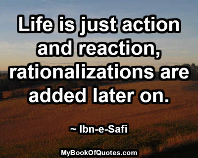 Life is just action and reaction, rationalizations are added later on. ~ Ibn-e-Safi