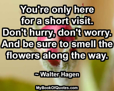 You're only here for a short visit. Don't hurry, don't worry. And be sure to smell the flowers along the way. ~ Walter Hagen