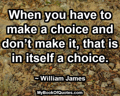 When you have to make a choice and don't make it, that is in itself a choice. ~ William James