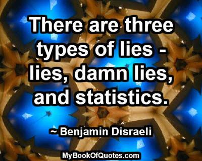There are three types of lies - lies, damn lies, and statistics. ~ Benjamin Disraeli