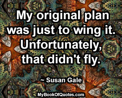 My original plan was just to wing it. Unfortunately, that didn't fly. ~ Susan Gale