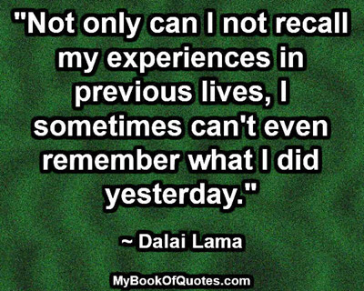 """""""Not only can I not recall my experiences in previous lives, I sometimes can't even remember what I did yesterday."""" ~ Dalai Lama"""