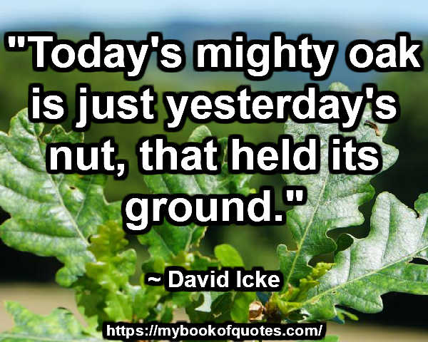 """Today's mighty oak is just yesterday's nut, that held its ground."" ~ David Icke"
