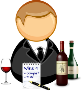 clip art of man wine and notepad for tasting notes