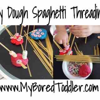 Play Dough spaghetti and cheerios fine motor activity