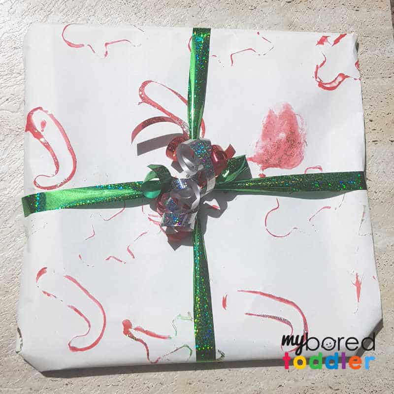 Toddler Painting Christmas Wrapping Paper