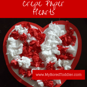 Crepe paper hearts toddler craft