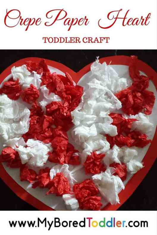 crepe paper hearts toddler valentines day craft