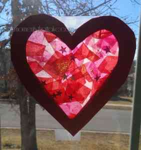 Valentine's Day toddler craft suncatcher