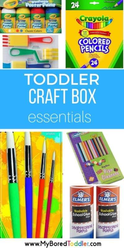 Toddler craft box essentials. Toddler crafts. Toddler art supplies. #toddlercraft #toddlerart #toddleractivities