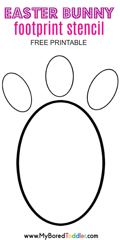 image regarding Footprint Printable named Easter Bunny Footprint Stencil - My Bored Child