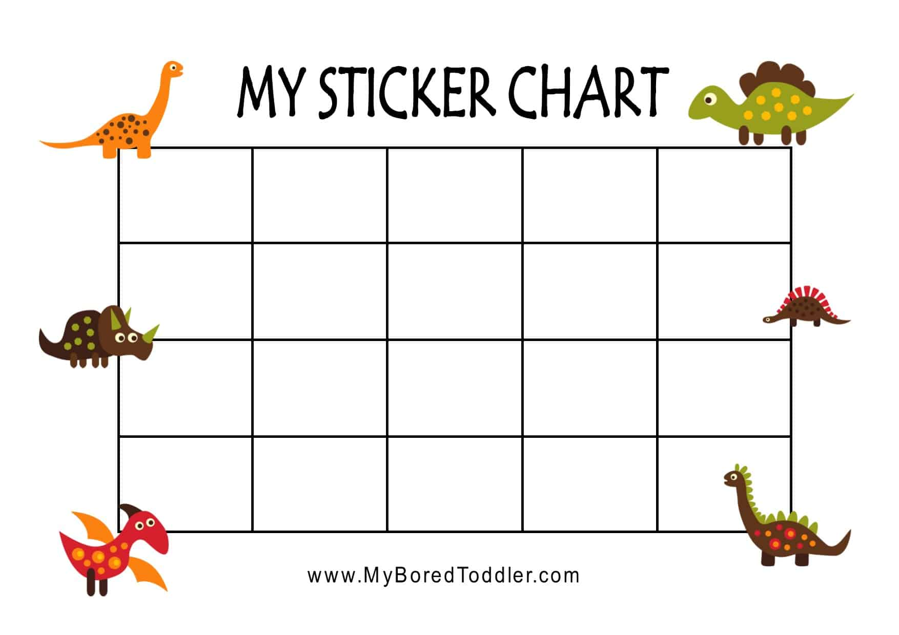 image about Sticker Reward Chart Printable named dinosaur printable advantage chart sticker chart for infants